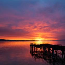 Sonnenaufgang am Konstanzer Fährhafen