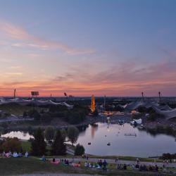 Sonnenuntergang über dem Olympiapark