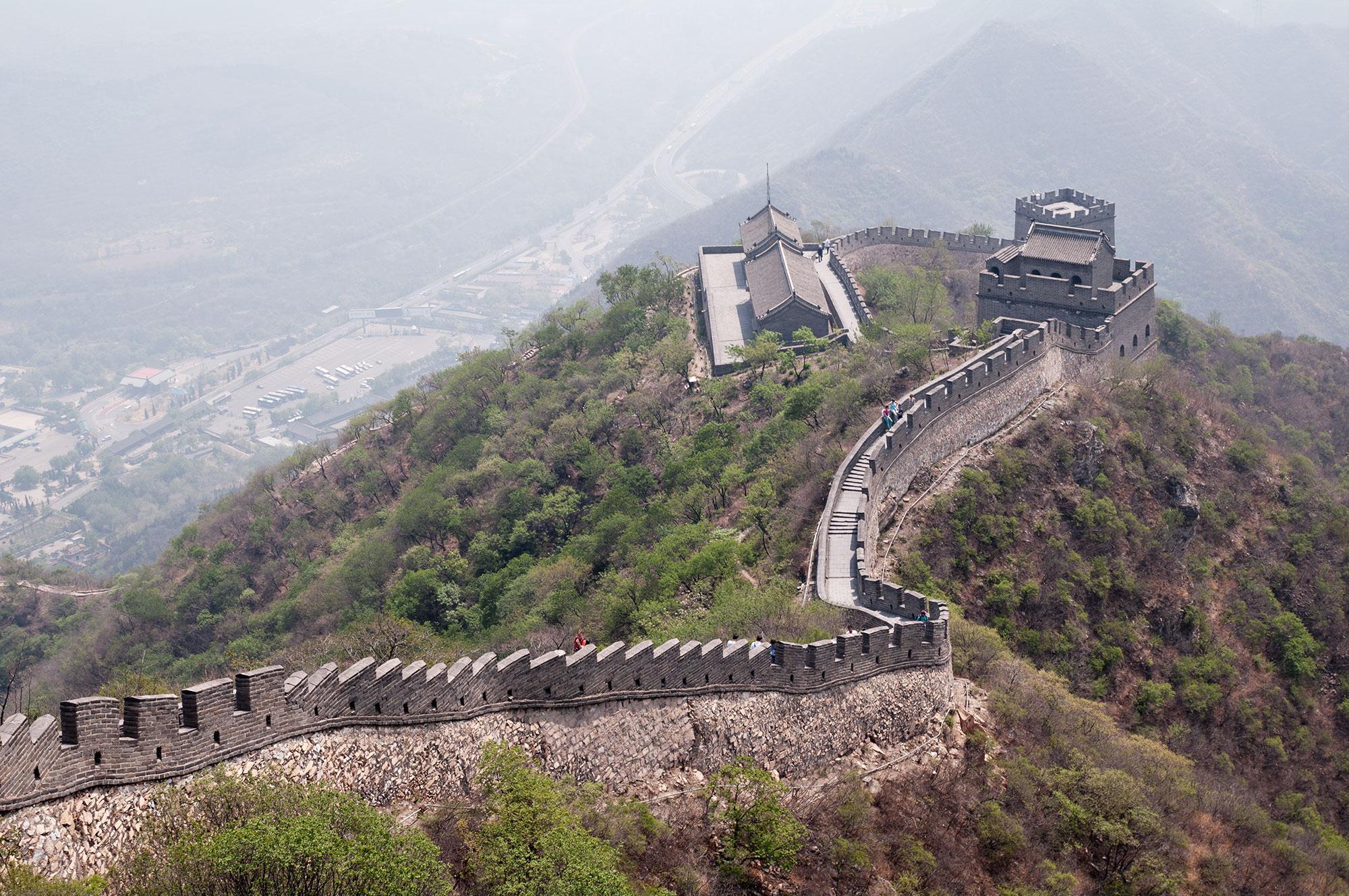 Der Blick zurück: Ausblick auf den Abschnitt der chinesischen Mauer bei Juyongguan