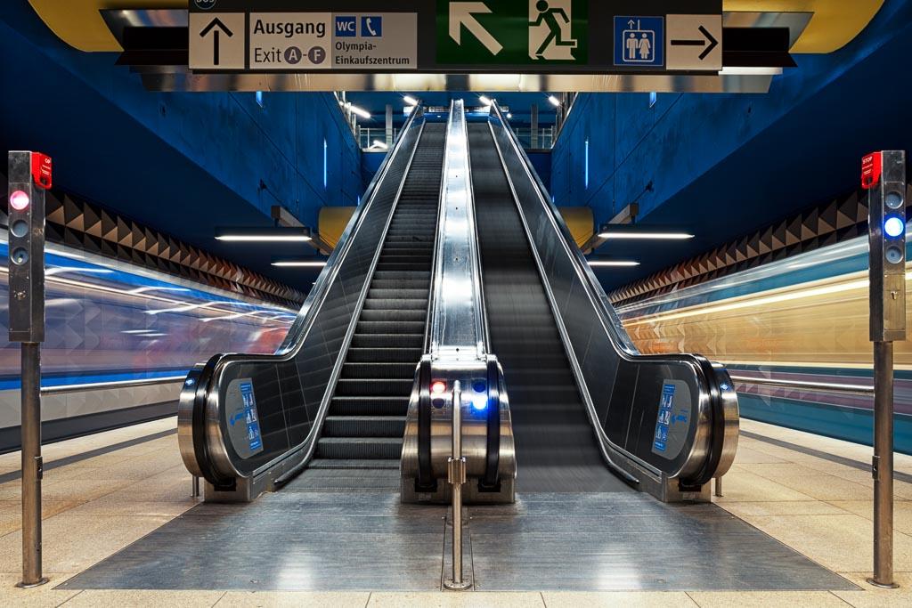 Die Münchener U-Bahnstation Olympiaeinkaufszentrum
